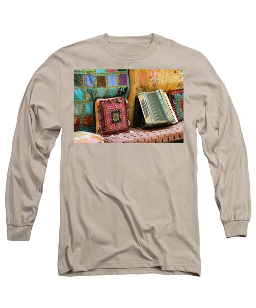 Accordion  With Colorful Pillows Long Sleeve T-Shirt by Yoel Koskas