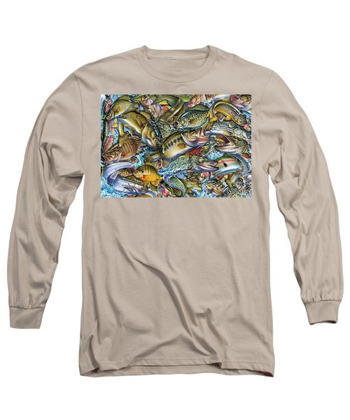 Action Fish Collage Long Sleeve T-Shirt by Jon Q Wright JQ Licensing
