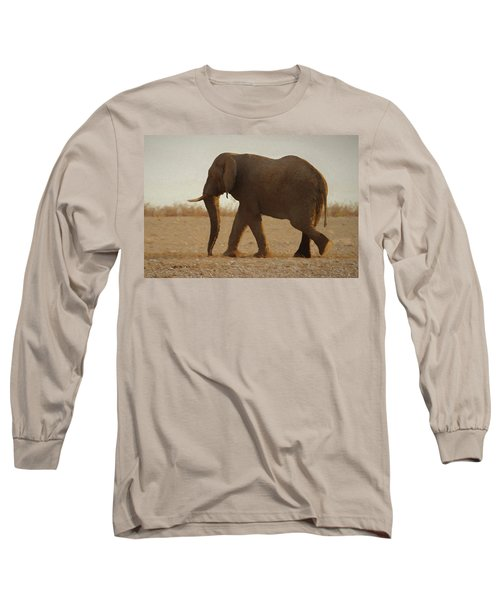 Long Sleeve T-Shirt featuring the digital art African Elephant Walk by Ernie Echols