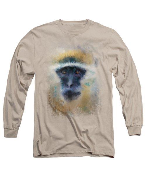 African Grivet Monkey Long Sleeve T-Shirt by Jai Johnson