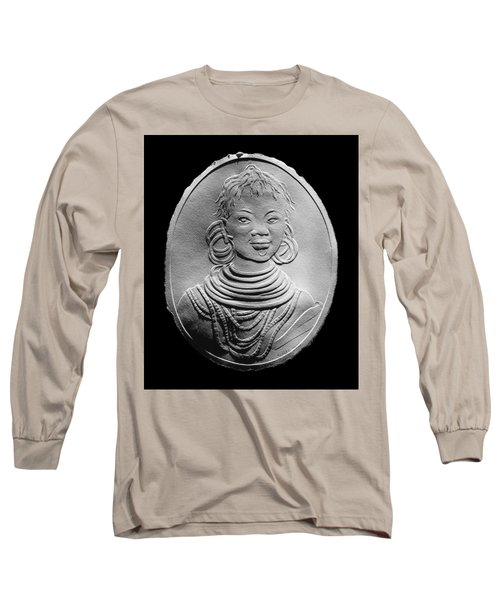 Long Sleeve T-Shirt featuring the relief African Turkana Woman by Suhas Tavkar