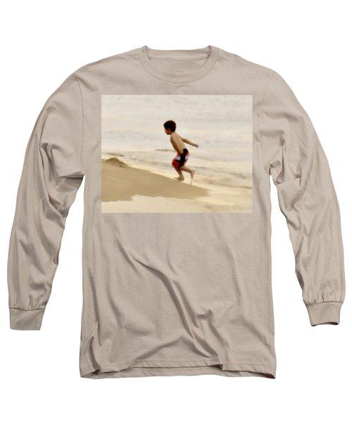 Airplane Boy Long Sleeve T-Shirt by John Hansen