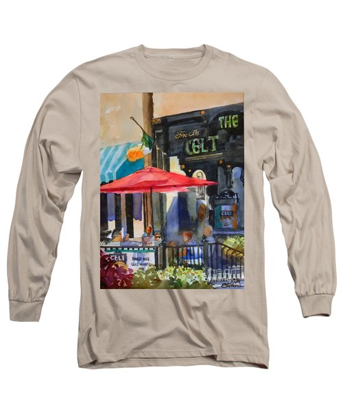 Long Sleeve T-Shirt featuring the painting Al Fresco At The Celt by Ron Stephens