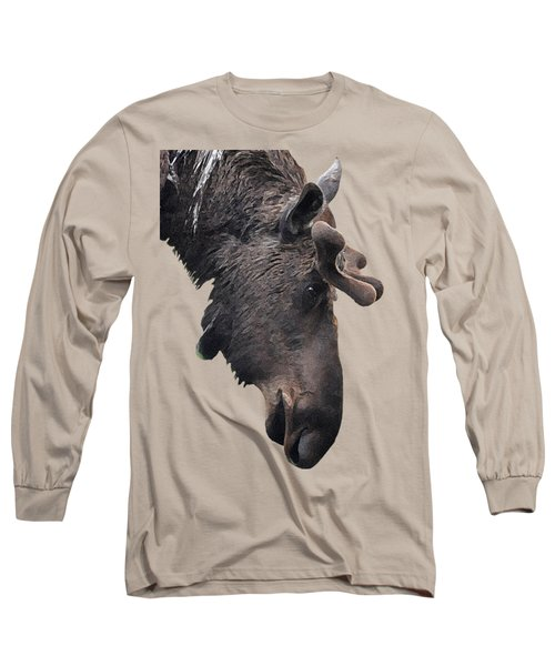 Long Sleeve T-Shirt featuring the painting Alaskan Moose by Diane E Berry