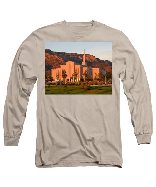 Albuquerque Lds Temple At Sunset 1 Long Sleeve T-Shirt