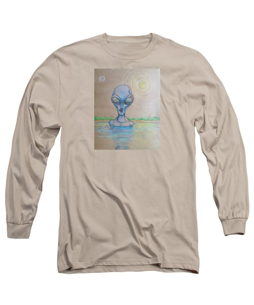 Long Sleeve T-Shirt featuring the drawing Alien Submerged by Similar Alien