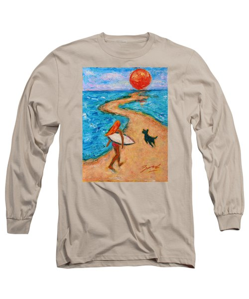 Long Sleeve T-Shirt featuring the painting Aloha Surfer by Xueling Zou