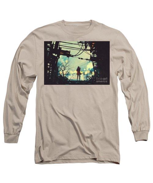 Long Sleeve T-Shirt featuring the painting Alone In The Abandoned Town#2 by Tithi Luadthong