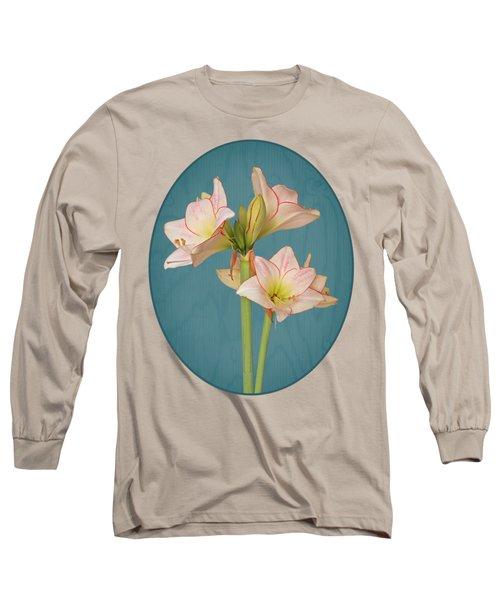 Amaryllis On Teal Long Sleeve T-Shirt