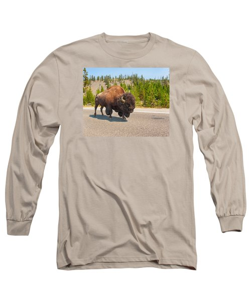 Long Sleeve T-Shirt featuring the photograph American Bison Sharing The Road In Yellowstone by John M Bailey