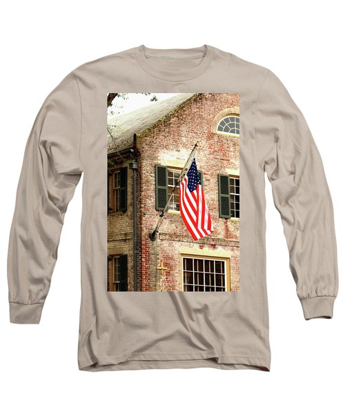 Long Sleeve T-Shirt featuring the photograph American Flag In Colonial Williamsburg by Emanuel Tanjala
