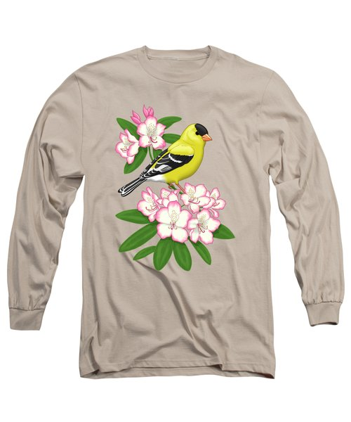 American Goldfinch And Coast Rhododendron Long Sleeve T-Shirt