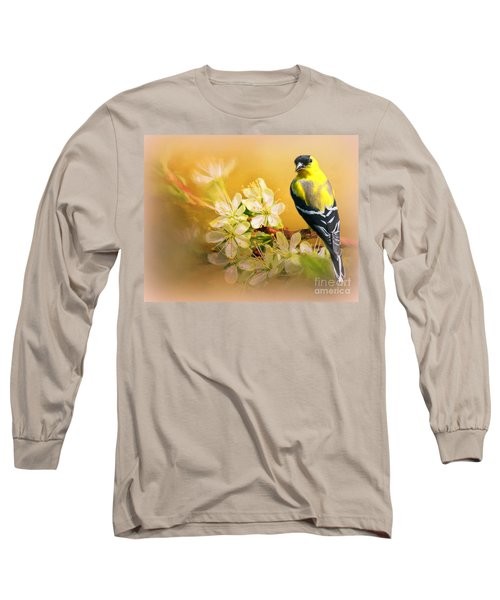 American Goldfinch In The Flowers Long Sleeve T-Shirt by Myrna Bradshaw