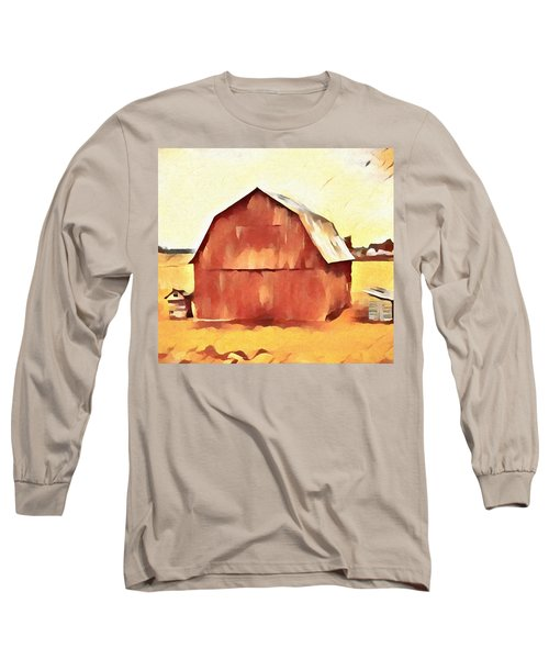 Long Sleeve T-Shirt featuring the painting American Gothic Red Barn by Dan Sproul