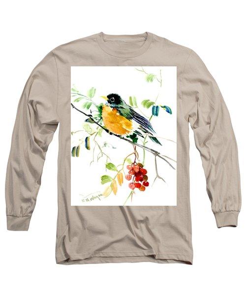 American Robin Long Sleeve T-Shirt by Suren Nersisyan