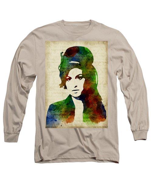 Amy Winehouse Watercolor Long Sleeve T-Shirt