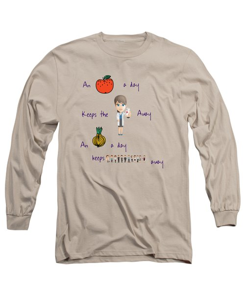 An Apple A Day Long Sleeve T-Shirt by Humorous Quotes