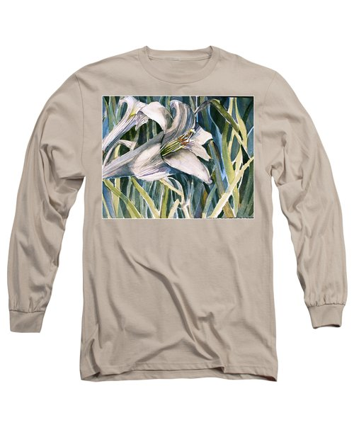 Long Sleeve T-Shirt featuring the painting An Easter Lily by Mindy Newman