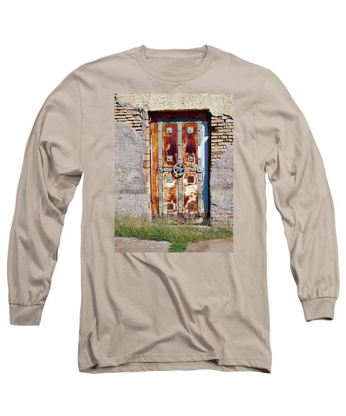 An Old Rusty Door In Katakolon Greece Long Sleeve T-Shirt by Richard Rosenshein