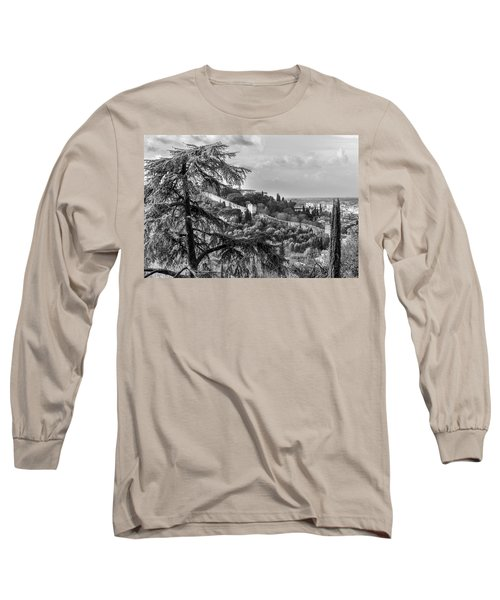 Long Sleeve T-Shirt featuring the photograph Ancient Walls Of Florence-bandw by Sonny Marcyan