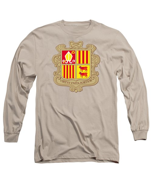 Long Sleeve T-Shirt featuring the drawing Andorra Coat Of Arms by Movie Poster Prints