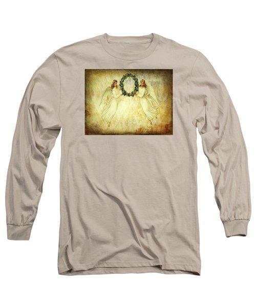 Angels Christmas Card Or Print Long Sleeve T-Shirt by Bellesouth Studio