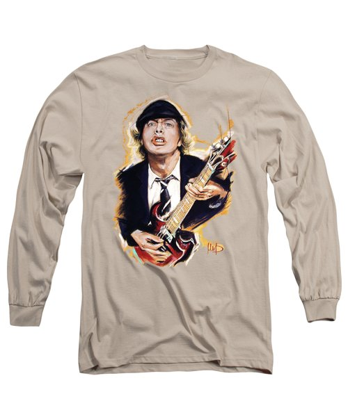 Angus Young Long Sleeve T-Shirt by Melanie D