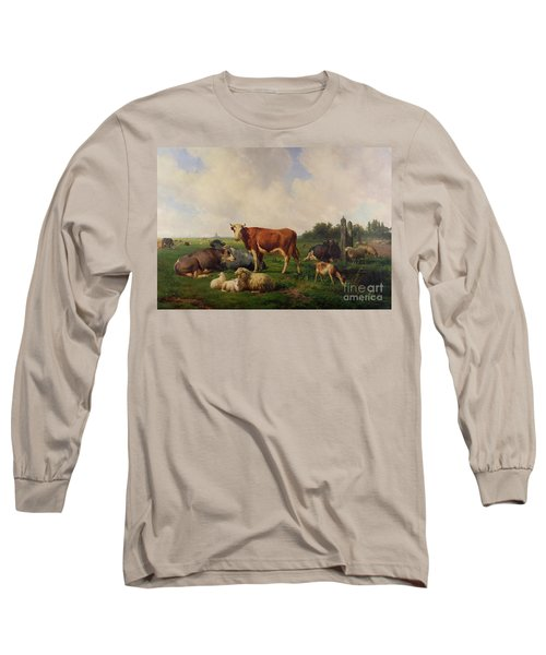 Animals Grazing In A Meadow  Long Sleeve T-Shirt