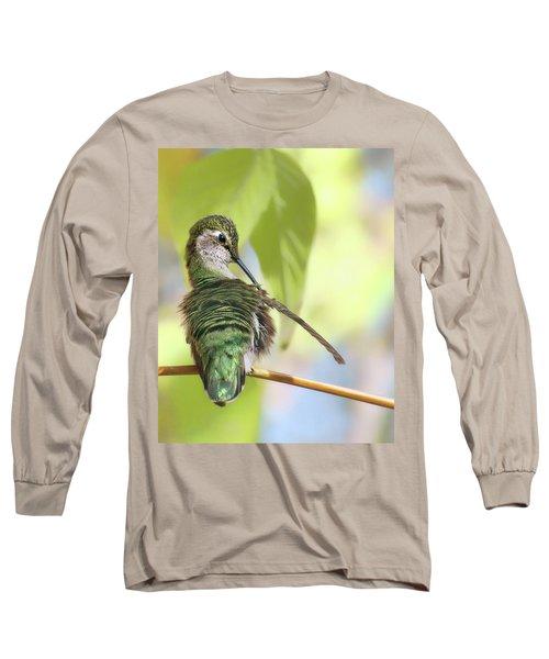 Anna's Hummingbird - Preening Long Sleeve T-Shirt by Nikolyn McDonald