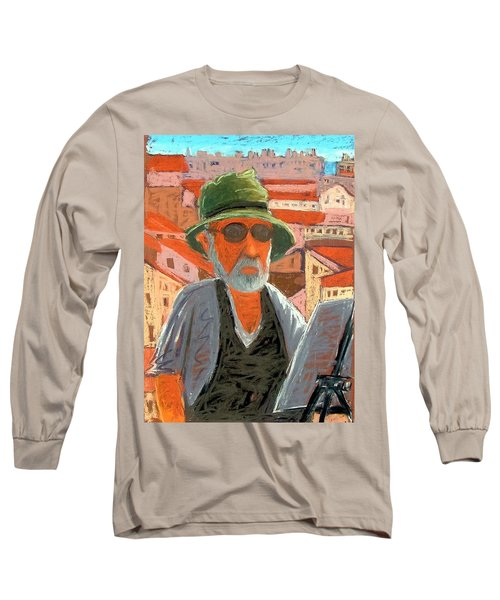 Long Sleeve T-Shirt featuring the painting Antibes Self by Gary Coleman