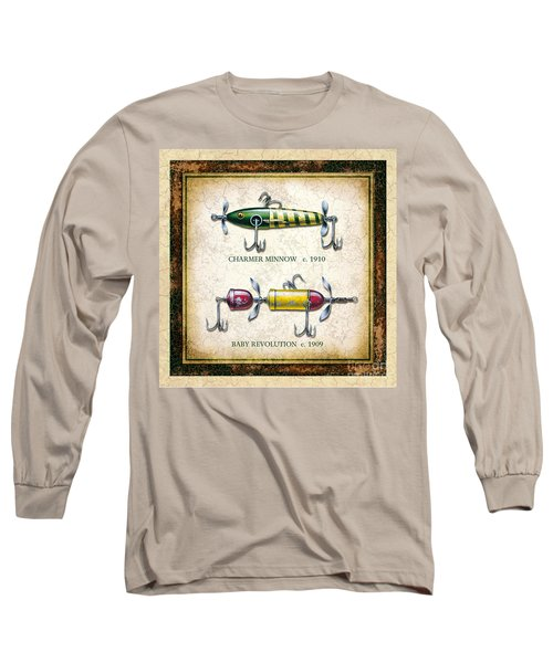 Antique Lure Panel One Long Sleeve T-Shirt by JQ Licensing Jon Q Wright