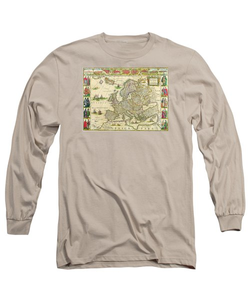 Antique Maps Of The World Map Of Europe Willem Blaeu C 1650 Long Sleeve T-Shirt