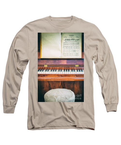 Long Sleeve T-Shirt featuring the photograph Antique Piano And Music Sheet by Silvia Ganora