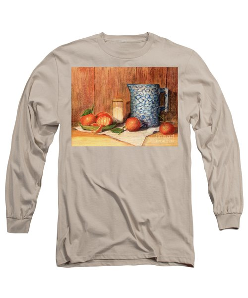 Antique Pitcher With Tangerines Long Sleeve T-Shirt by Pattie Calfy