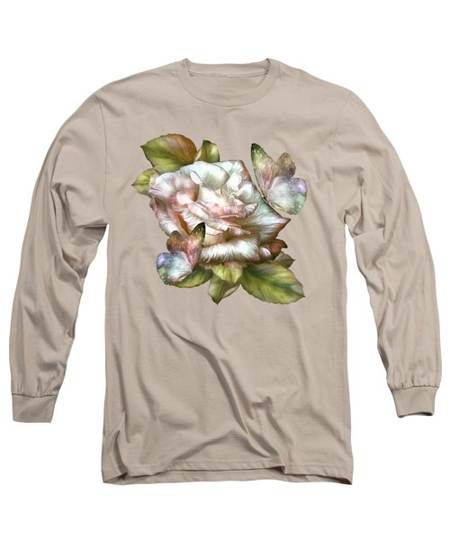 Antique Rose And Butterflies Long Sleeve T-Shirt by Carol Cavalaris
