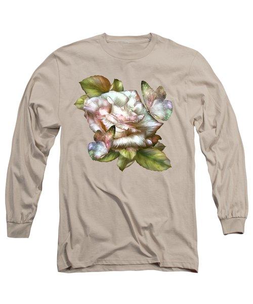 Antique Rose And Butterflies Long Sleeve T-Shirt