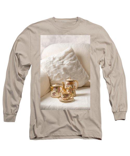 Antique Teaset On Sofa Long Sleeve T-Shirt