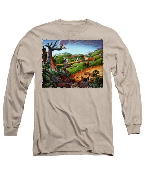 Appalachian Fall Thanksgiving Wheat Field Harvest Farm Landscape Painting - Rural Americana - Autumn Long Sleeve T-Shirt by Walt Curlee
