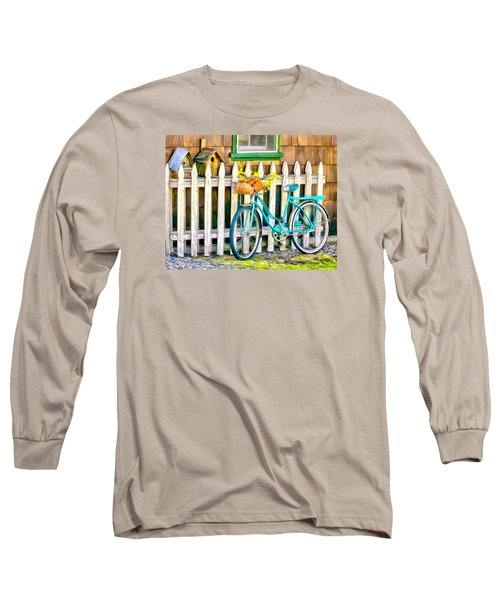 Aqua Antique Bicycle Along Fence Long Sleeve T-Shirt by Betty Denise