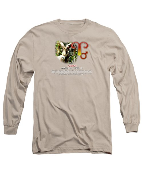 Aries Sun Sign Long Sleeve T-Shirt by Shelley Overton