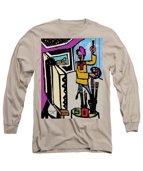 Long Sleeve T-Shirt featuring the digital art Artiste In The Studio by Ted Azriel