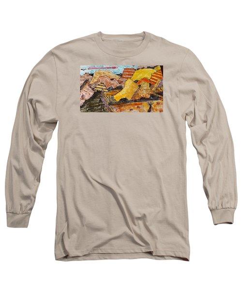 Long Sleeve T-Shirt featuring the drawing Arizona Canyons by Don Koester