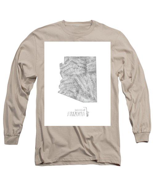 Arizona Map Music Notes Long Sleeve T-Shirt