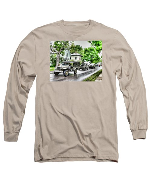 Army Jeeps On Parade Long Sleeve T-Shirt by Rena Trepanier