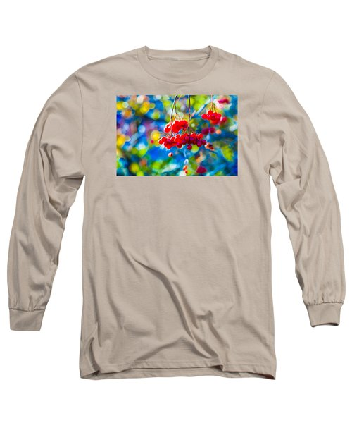 Long Sleeve T-Shirt featuring the photograph Arrowwood Berries Abstract by Alexander Senin