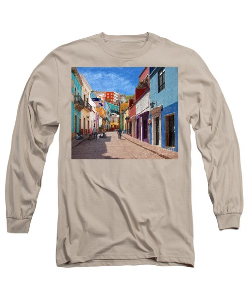 Long Sleeve T-Shirt featuring the photograph Art Students Drawing A Street In Guanajuato by John Kolenberg