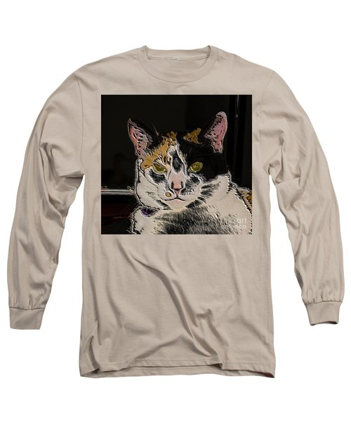 Artistic Cat Long Sleeve T-Shirt by Marilyn Carlyle Greiner