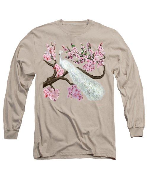 Cherry Blossom Peacock Long Sleeve T-Shirt