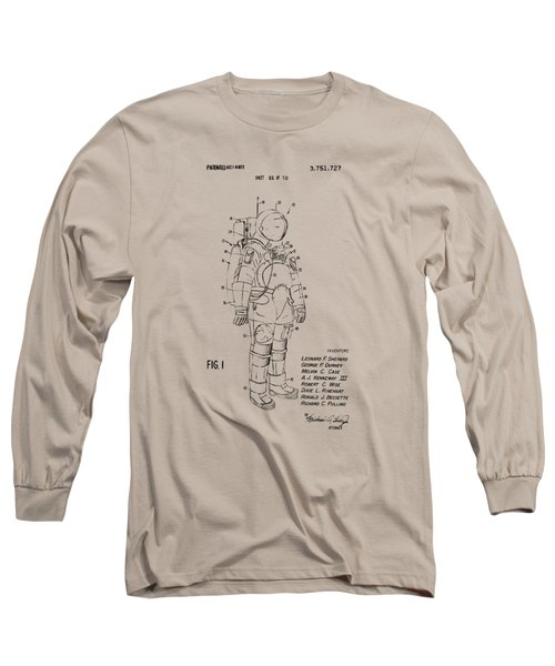 1973 Space Suit Patent Inventors Artwork - Vintage Long Sleeve T-Shirt by Nikki Marie Smith