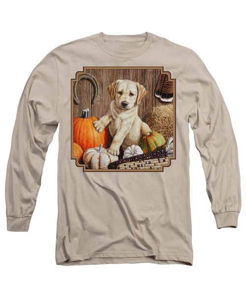 Pumpkin Puppy Long Sleeve T-Shirt by Crista Forest